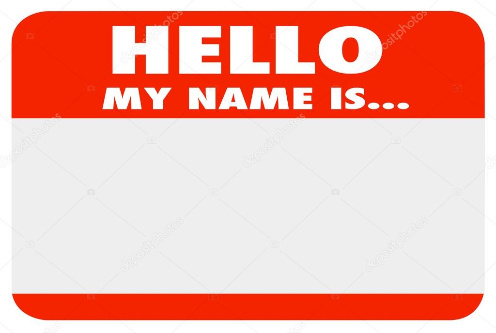 hello my name is blank blue name tag sticker stock photo iqoncept 74170901. Black Bedroom Furniture Sets. Home Design Ideas