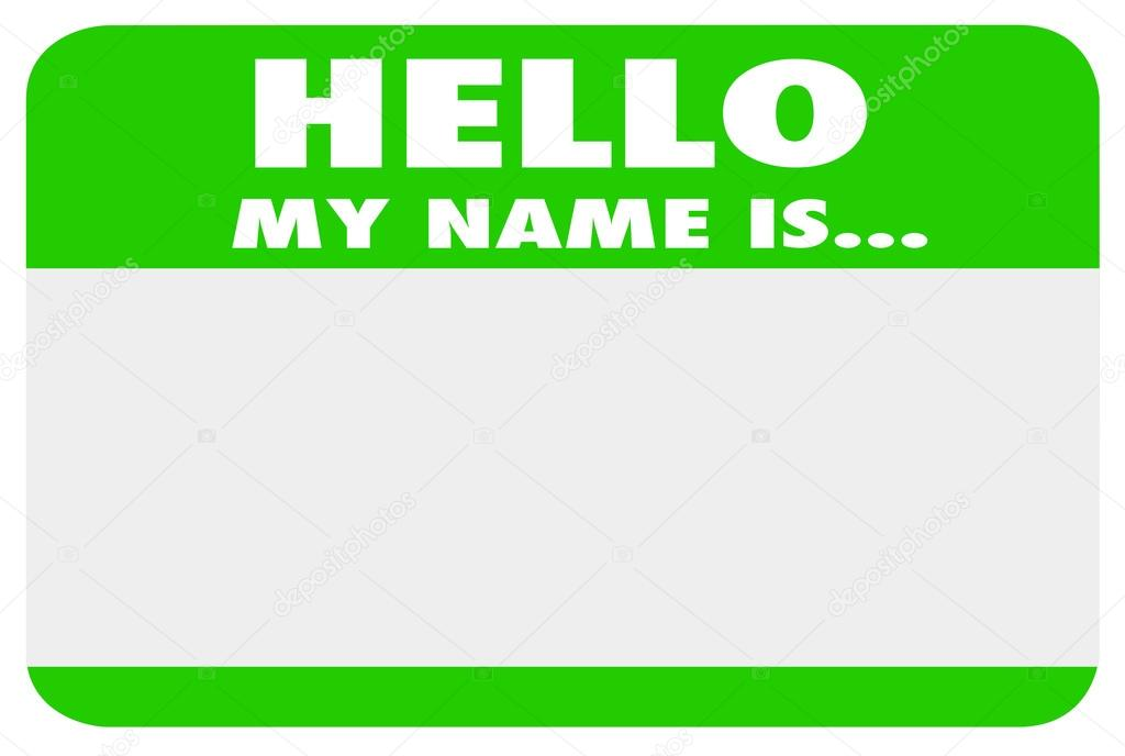 Hello My Name is Blank Green Name Tag Sticker — Stock ...