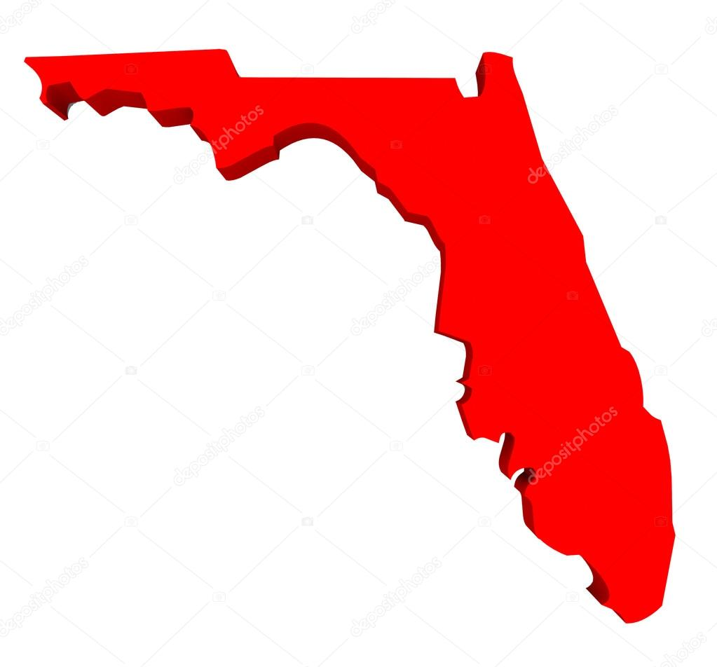 Florida Fl Usa State 3d Red Map Stock Photo C Iqoncept 74171205