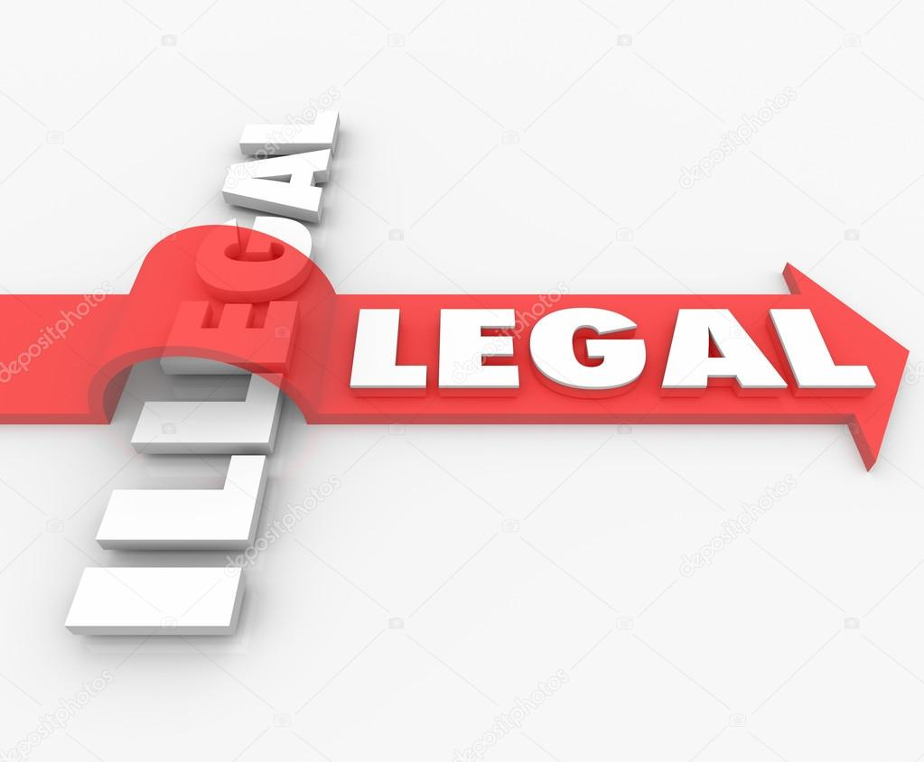 legal vs illegal law red arrow over word guilty or innocent stock
