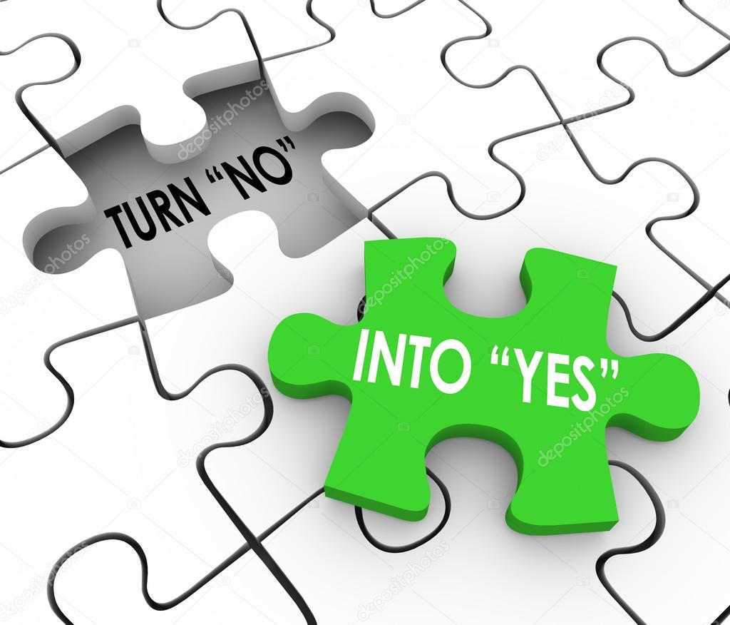 turn no into yes puzzle stock photo iqoncept 97255190