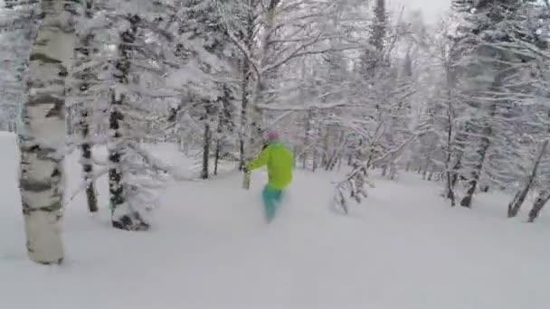 Snowboardista dívka jede v prašánku