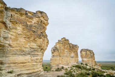 limestone pilars in Kansas prairie