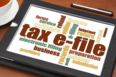 Tax e-file word cloud
