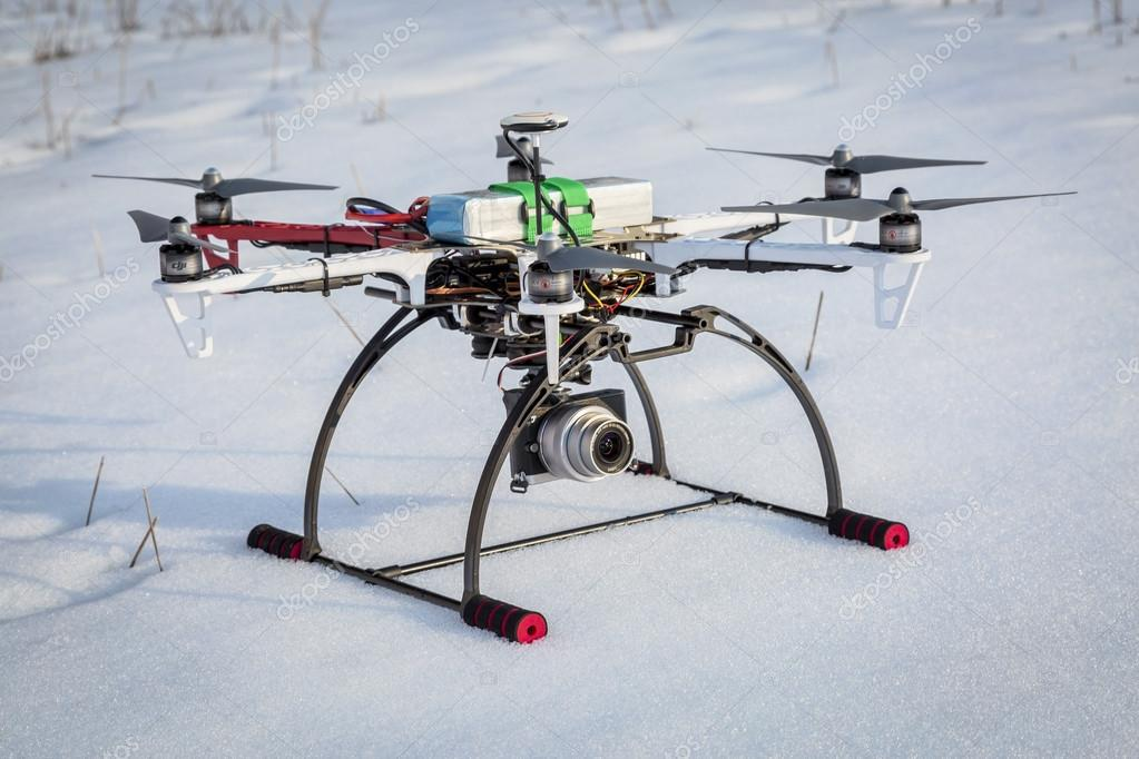 hexacopter drone on snow