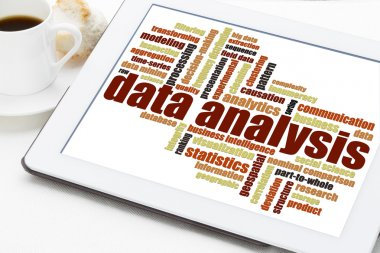data analysis word cloud on tablet