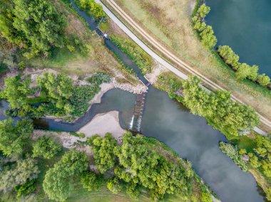 river diversion dam - aerial view