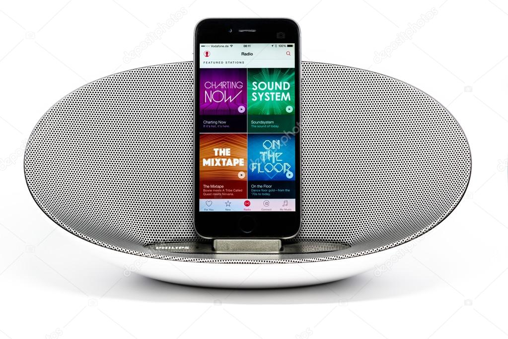 hot sale online 2d137 c4464 iPhone 6 with loudspeaker displaying the Apple Music radio screen ...