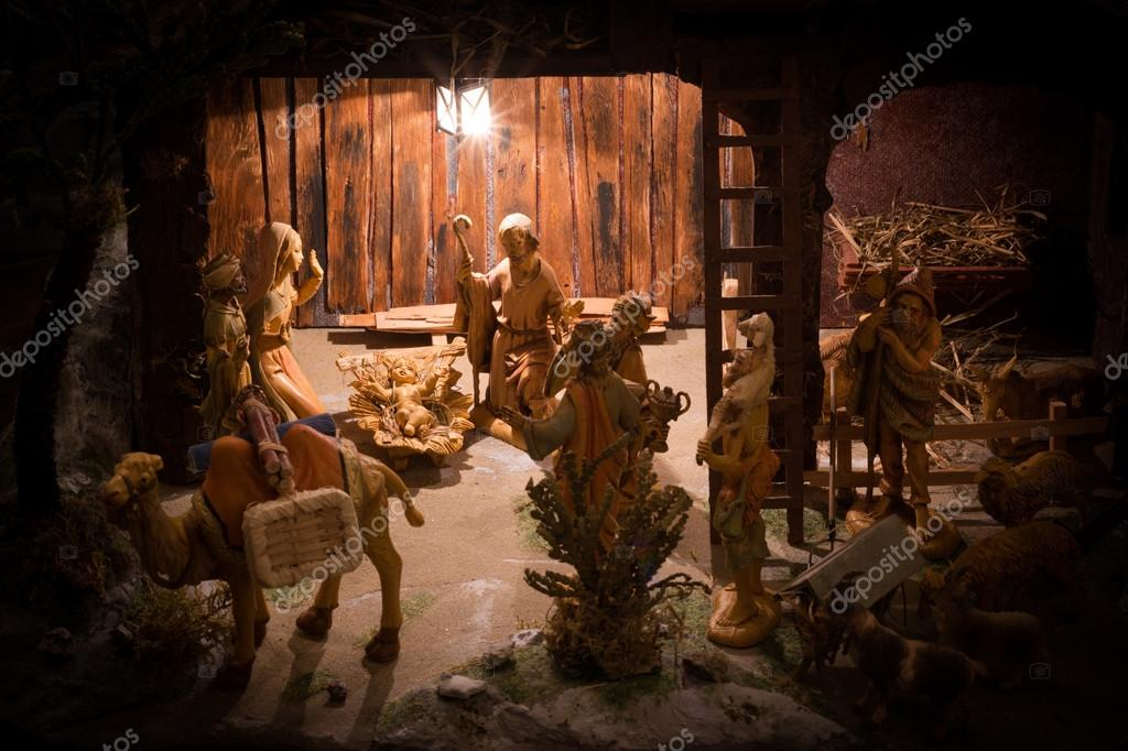 christmas manger scene with figurines including jesus mary joseph the magi and animals photo by franky242