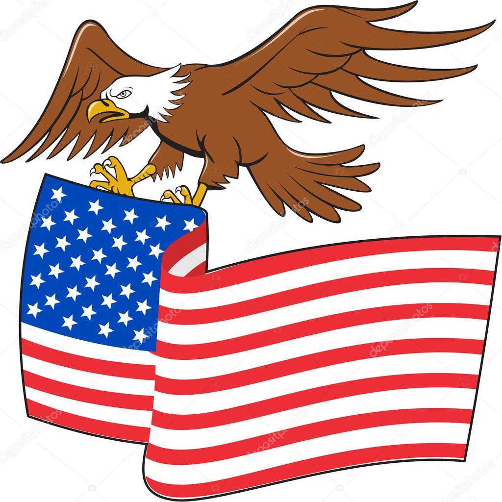 águila Calva Americana Con Dibujos Animados De Bandera De Estados