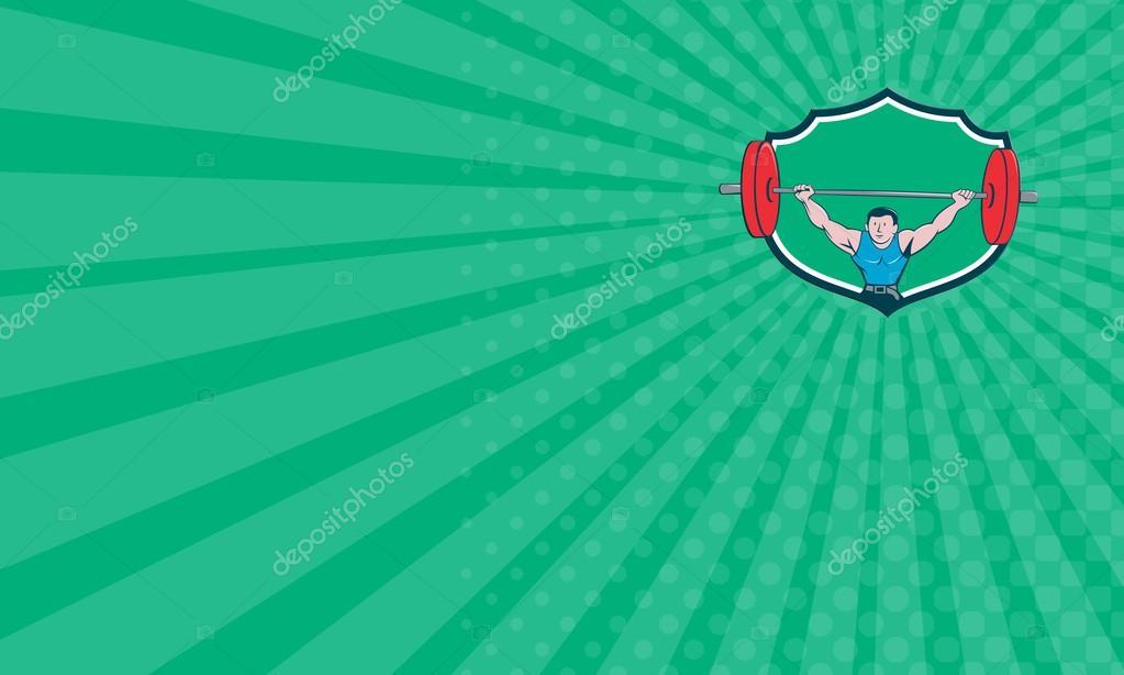 Carte De Visite Montrant Lillustration Dun Haltrophile Deadlift Soulever Des Poids Vu Davant Placez Lintrieur La Crte Bouclier Sur Fond Isol