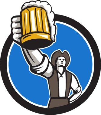 American Patriot Craft Beer Mug Toasting Circle Retro