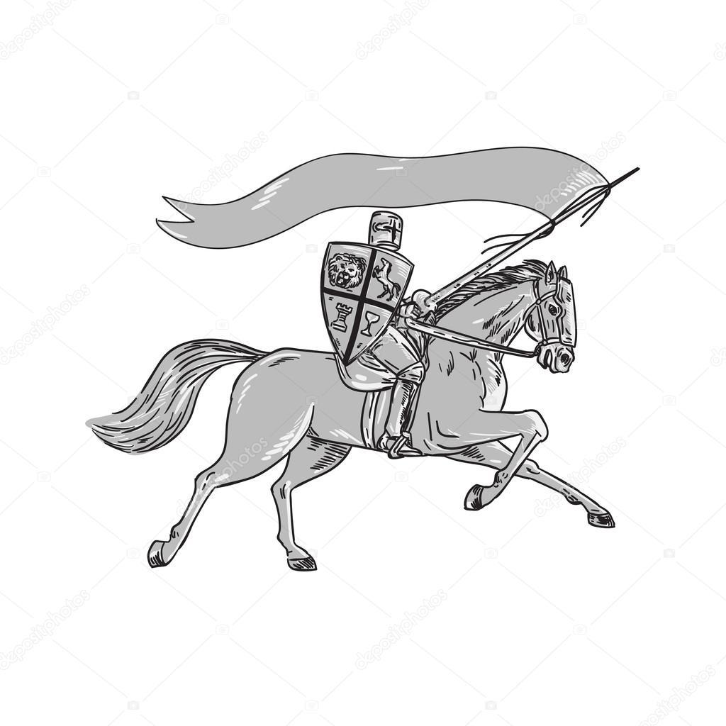Montar a caballo caballero escudo bandera lanza Retro — Vector de ...