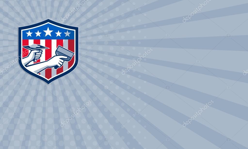 Business card Drywall Repair Service American Flag Shield Retro ...