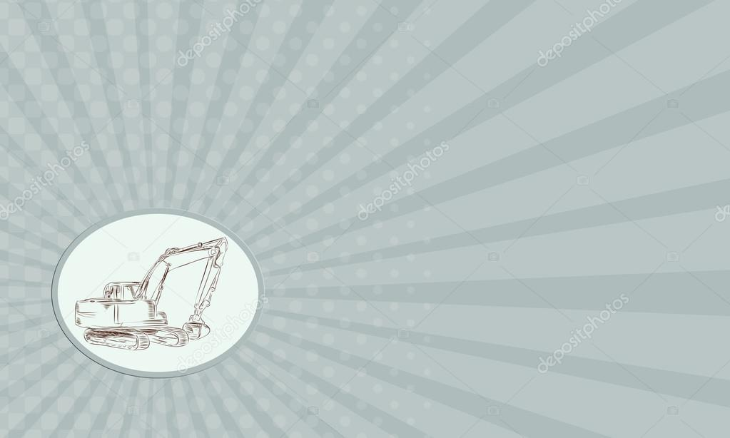 Affichage De La Carte Visite Gravure Illustration Style Main Dune Pelle Mecanique Construction Vue Du Cote Sur Fond Isole Image