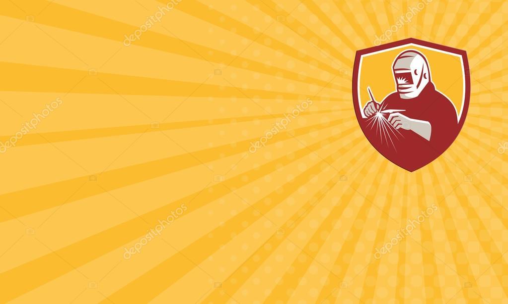 Carte De Visite Montrant Lillustration Soudeur Tig Tungsten Inert Gas Avec La Torche Soudage Ensemble Lintrieur Crte Bouclier