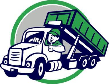 Roll-Off Bin Truck Driver Thumbs Up Circle Cartoon