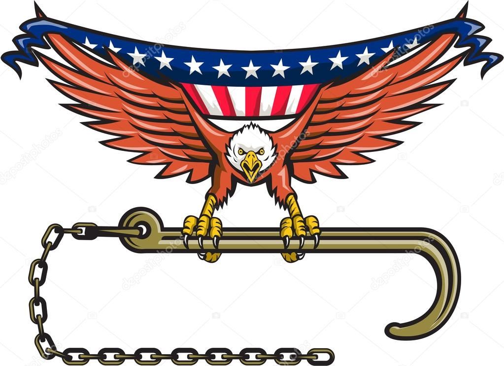 American Eagle Clutching Towing J Hook Usa Flag Retro Stockvector