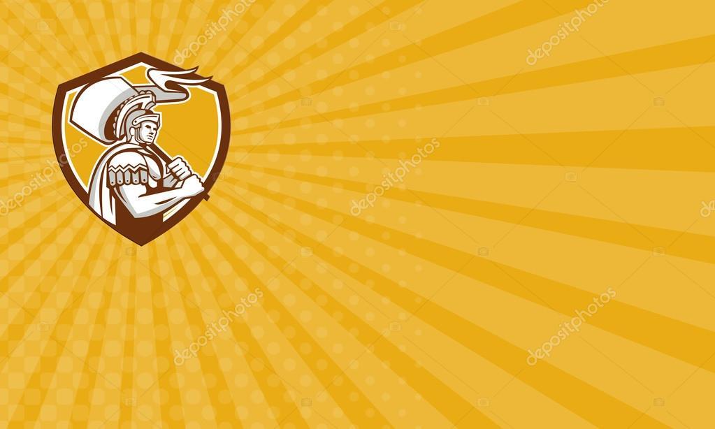 Business card Roman Centurion Carry Flag Crest Retro — Stock Photo ...