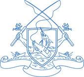 Horgászbot tárcsás bottal akasztás kék Marlin sör üveg címer rajz