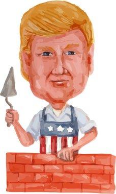 Donald Trump Building A Wall Cartoon