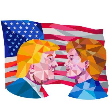 Hillary Clinton Vs Donald Trump Low Polygon