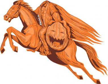 Headless Horseman Pumpkin Head Drawing