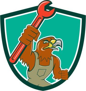 Hawk Mechanic Pipe Spanner Crest Cartoon