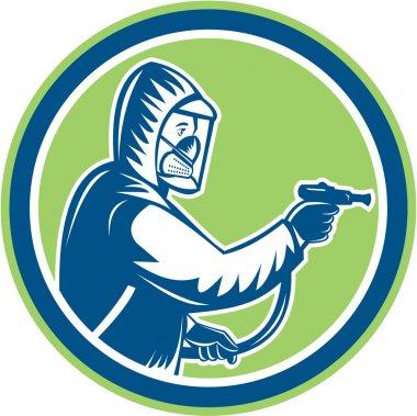 Pest Control Exterminator Spraying Circle Retro