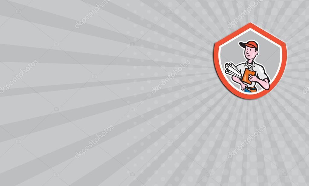 Carte De Visite Montrant Lillustration Dun Ouvrier Du Btiment Constructeur Architecte Charpentier Avec Plans Et Presse Papiers La Recherche Sur Le