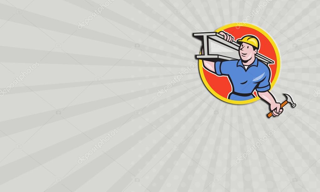 Business card Construction Steel Worker Carry I-Beam Circle Cartoon ...