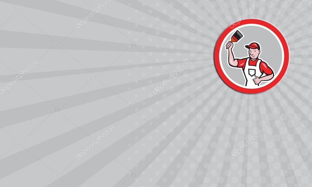 Carte De Visite Peintre En Batiment Detenant La Caricature Cercle Pinceau Images Stock Libres Droits