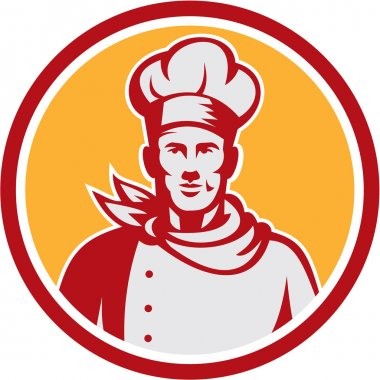 Baker Chef Cook Bust Front Circle Retro