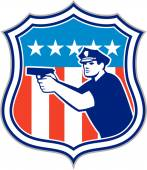 Fotografie Policeman With Gun American Flag Shield Retro