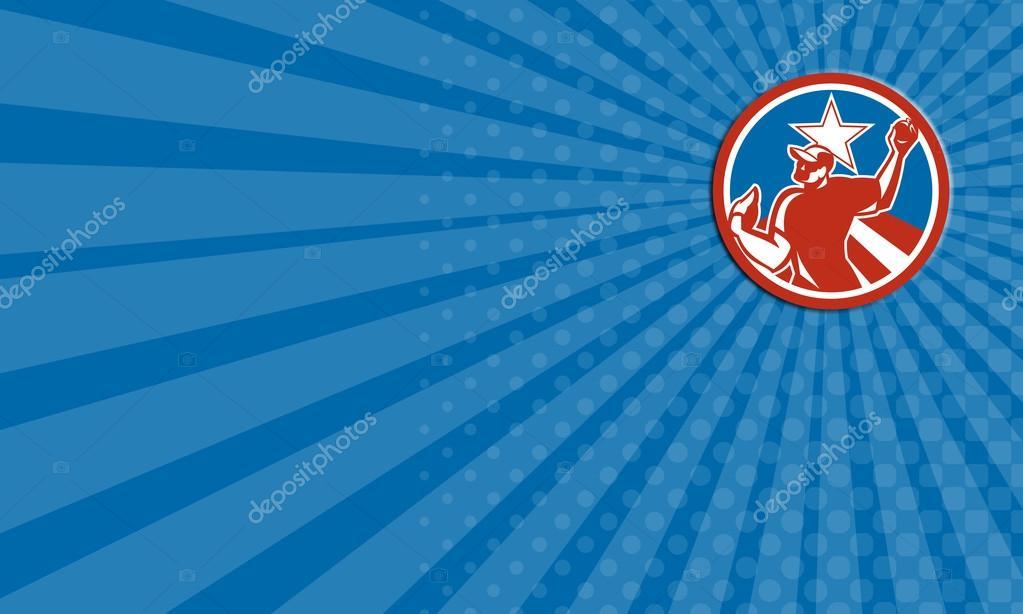 Carte De Business Montrant Lillustration Dun Joueur Baseball Americain Pichet Outfilelder Lancez Une Balle Placee A Linterieur Du Cercle Avec La