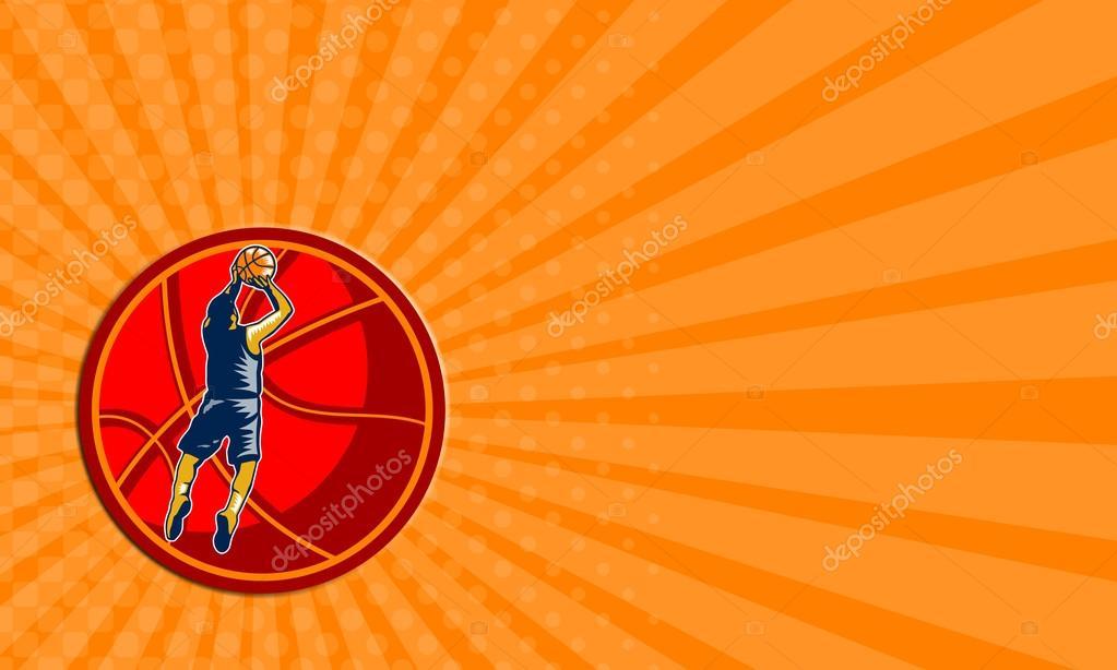 Carte De Visite Montrant Lillustration Dun Joueur Basket Ball Cavalier Tir Jeu Saut Dobstacles A Linterieur La Boule Geante Sur Fond Blanc
