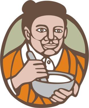 Granny Cook Mixing Bowl Linocut