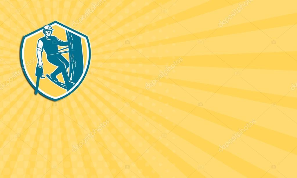 Carte De Visite Montrant Lillustration Du Bucheron Elagage Arbre Chirurgien A La Recherche Avant Avec Harnais Et Pendaison Tronconneuse Escalade