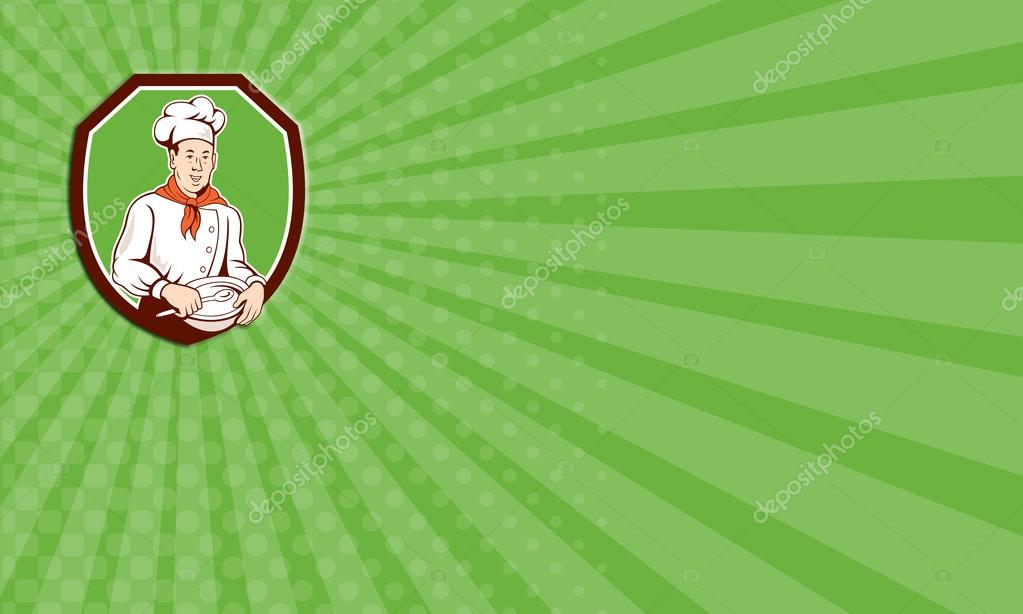 Business Card Showing Illustration Of A Chef Cook Holding Spoon And Bowl Et Inside Shield Crest On Isolated Background Done In Cartoon Style