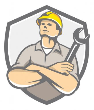 Builder Arms Crossed Wrench Shield