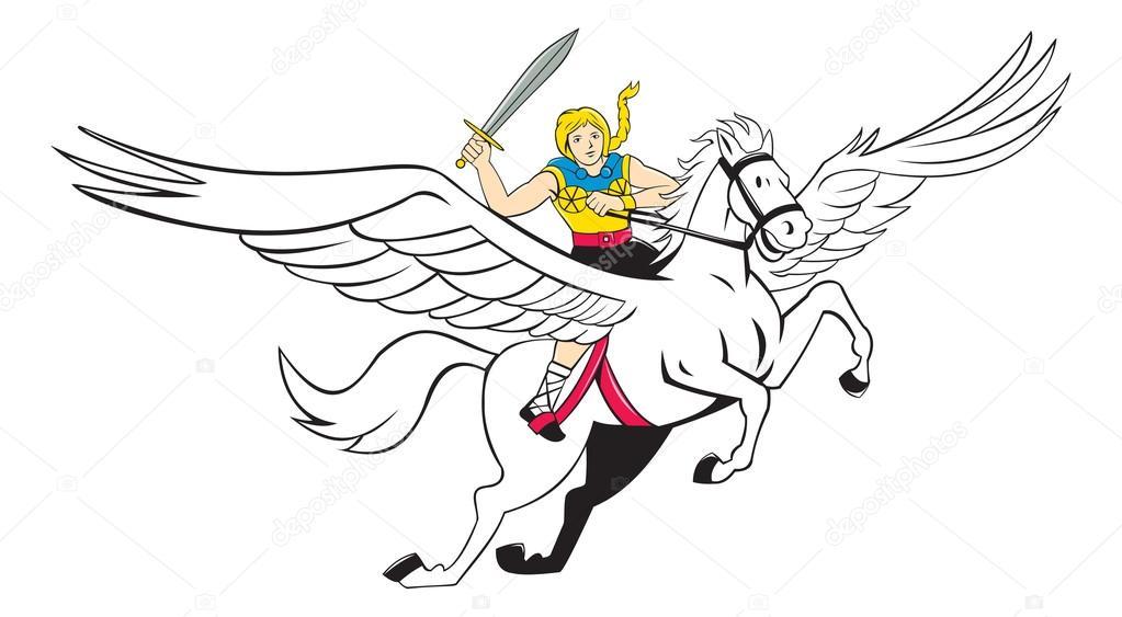 Valkyrie Amazon Warrior Flying Horse Cartoon Stock Vector