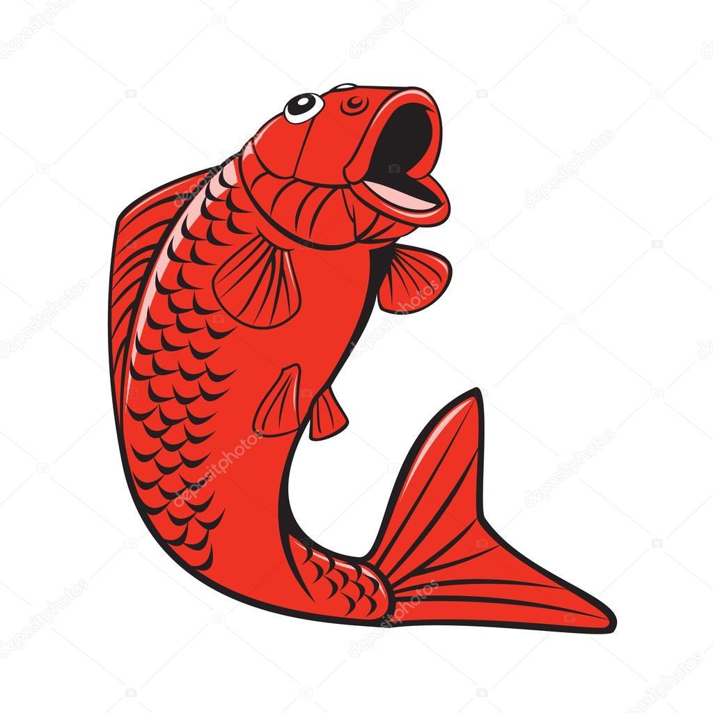 Koi Nishikigoi Carp Fish Jumping Cartoon — Stock Vector © patrimonio ...