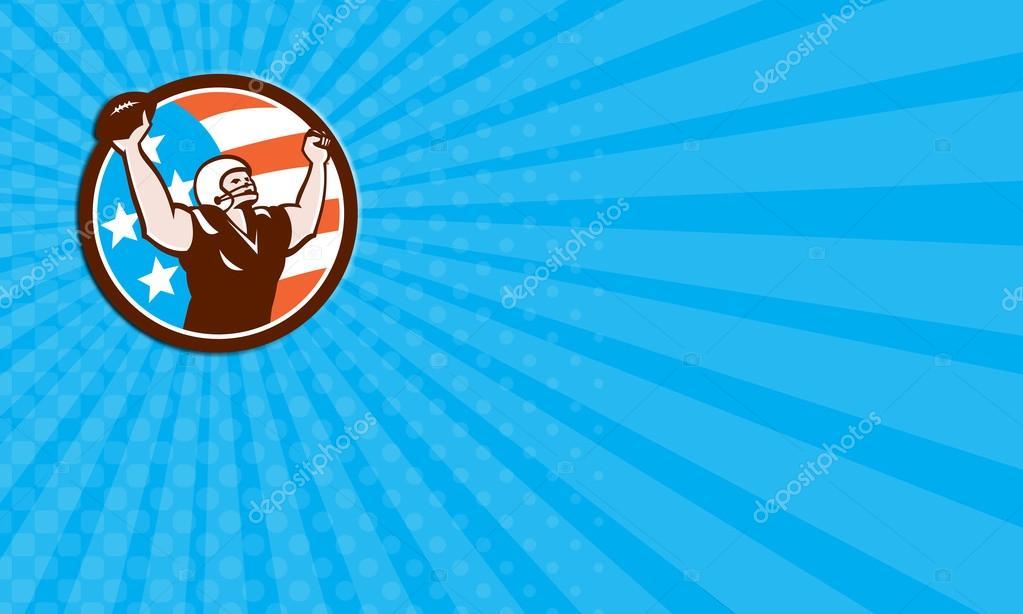 Carte De Visite Montrant Lillustration Dun Football Americain Casque Tenant Boule Plus Tete Celebrant Touche Vu Lavant Situe A Linterieur Du Cercle