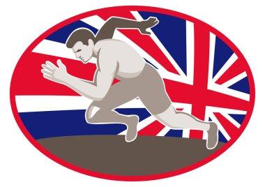 Runner track near great britain flag