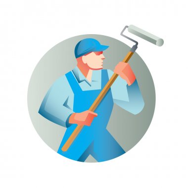 house painter holding paint roller