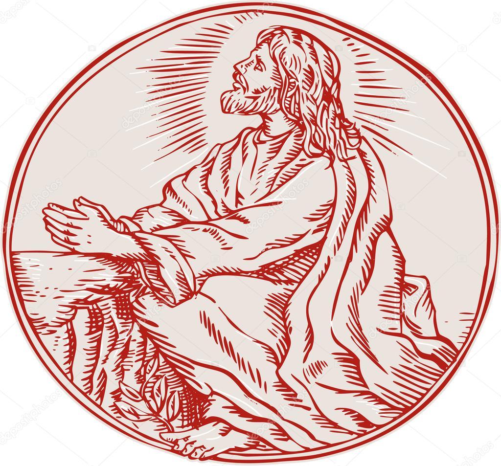 Jesús Cristo agonía en el jardín de la aguafuerte — Vector de stock ...