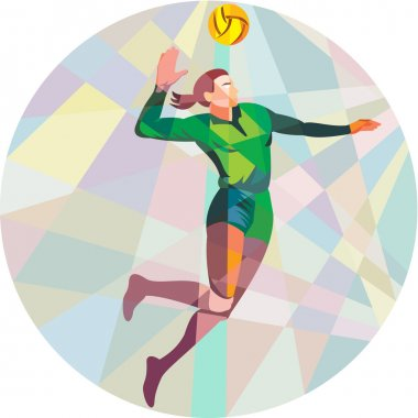 Volleyball Player Spiking Ball Jumping Low Polygon