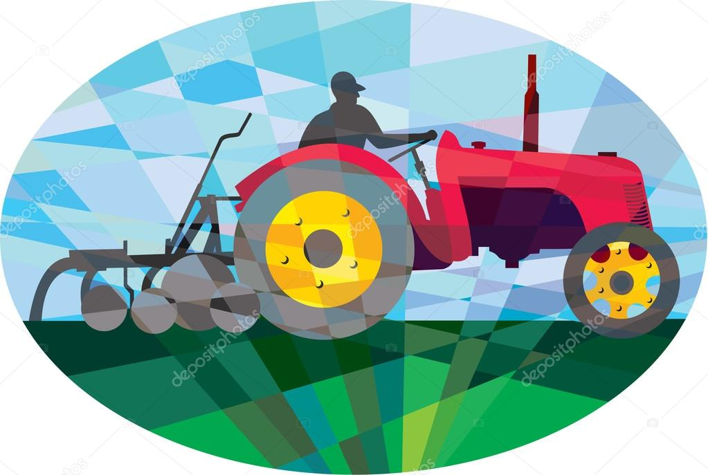 Farmer Driving Vintage Farm Tractor Oval Low Polygon
