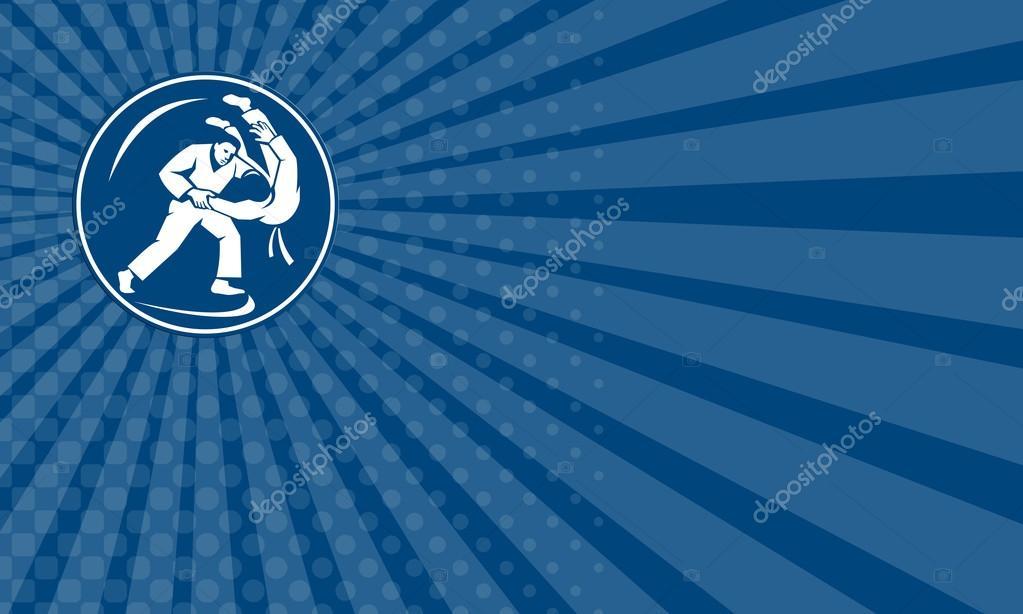 Business card judo combatants throw circle icon stock photo business card judo combatants throw circle icon stock photo colourmoves