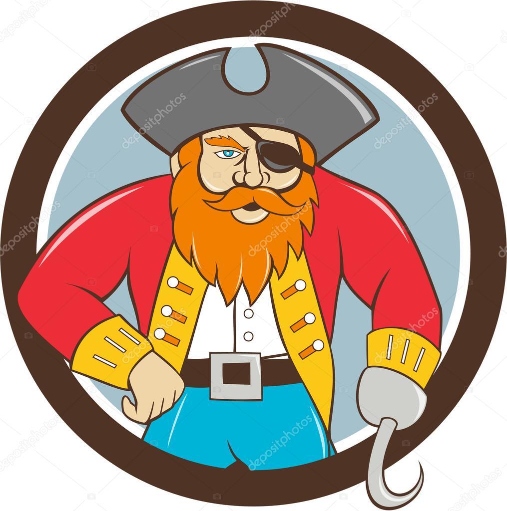 capitão gancho pirata círculo dos desenhos animados vetores de